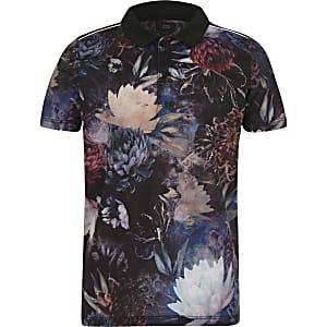 Boys navy floral polo shirt