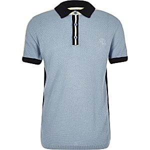 Polo en maille colour block bleu pour garçon