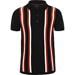 Boys navy stripe polo shirt