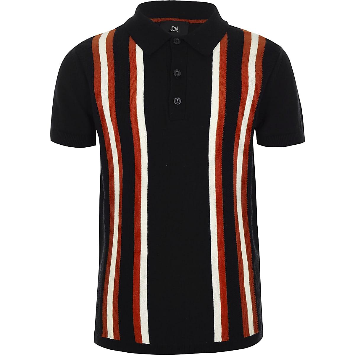 Boys navy stripe polo shirt