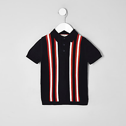 Mini boys navy stripe polo shirt