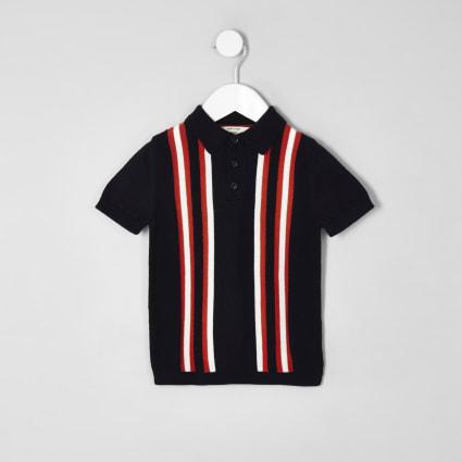 Mini boys navy stripe polo shirt
