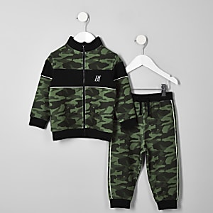 Mini - Outfit met kaki joggingbroek met camouflage- en RI-print