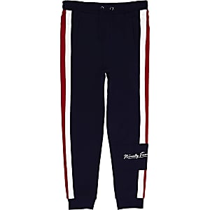 Boys navy tape joggers
