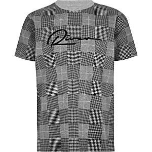 Boys grey check 'River' T-shirt