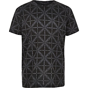 Boys black RI logo print T-shirt