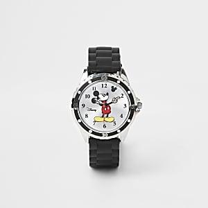 Zwart Micky Mouse horloge met rubberen bandje voor jongens