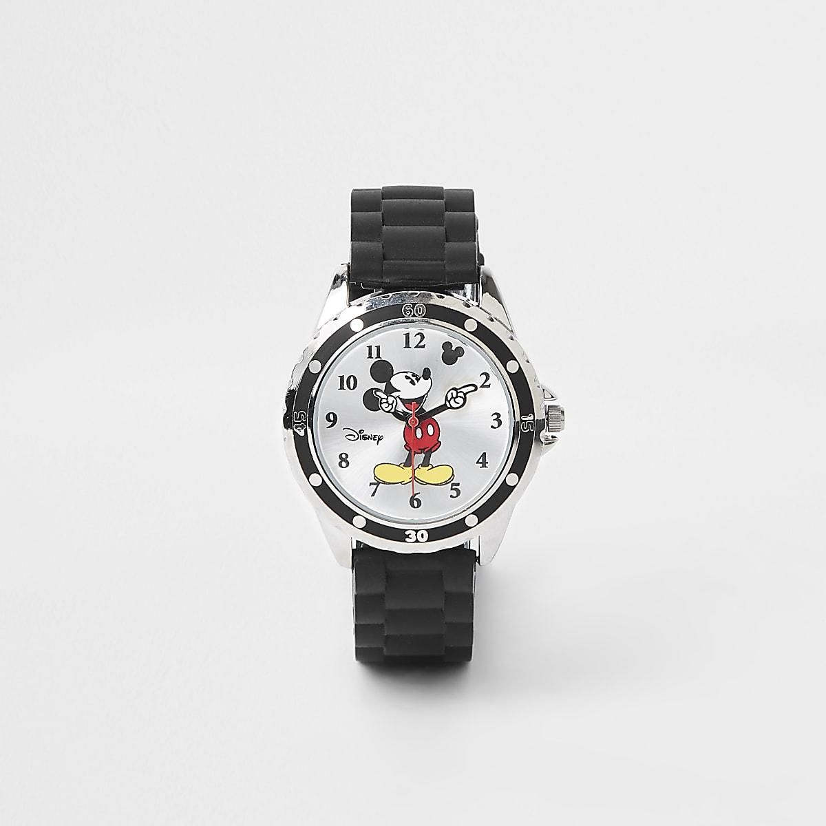 Boys black rubber strap Mickey Mouse watch