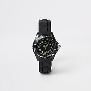 Boys black rubber strap sport watch
