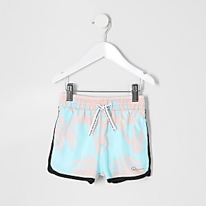 Mini boys blue palm print swim shorts