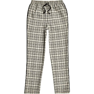 Boys ecru check tapered pants