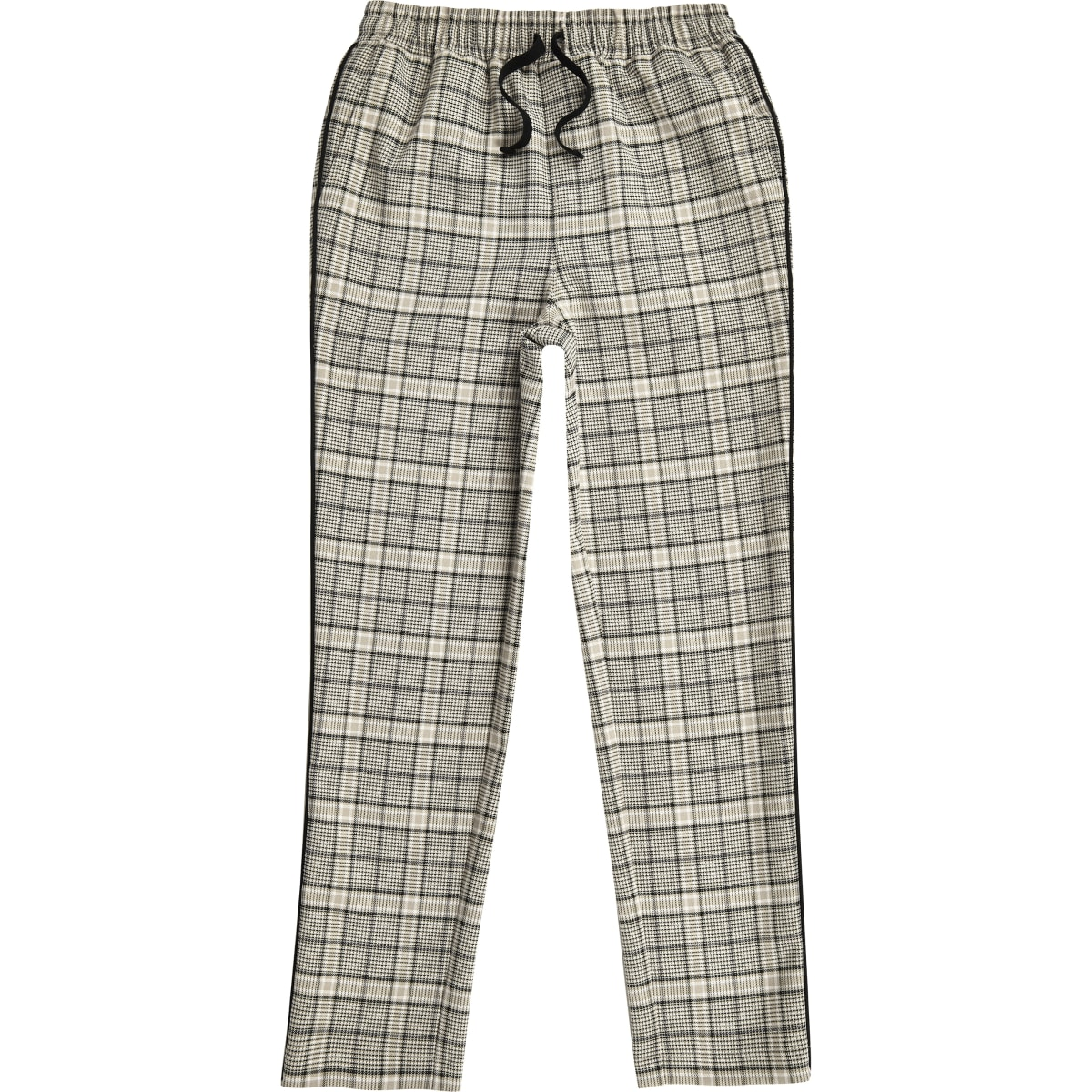 Boys ecru check tapered trousers