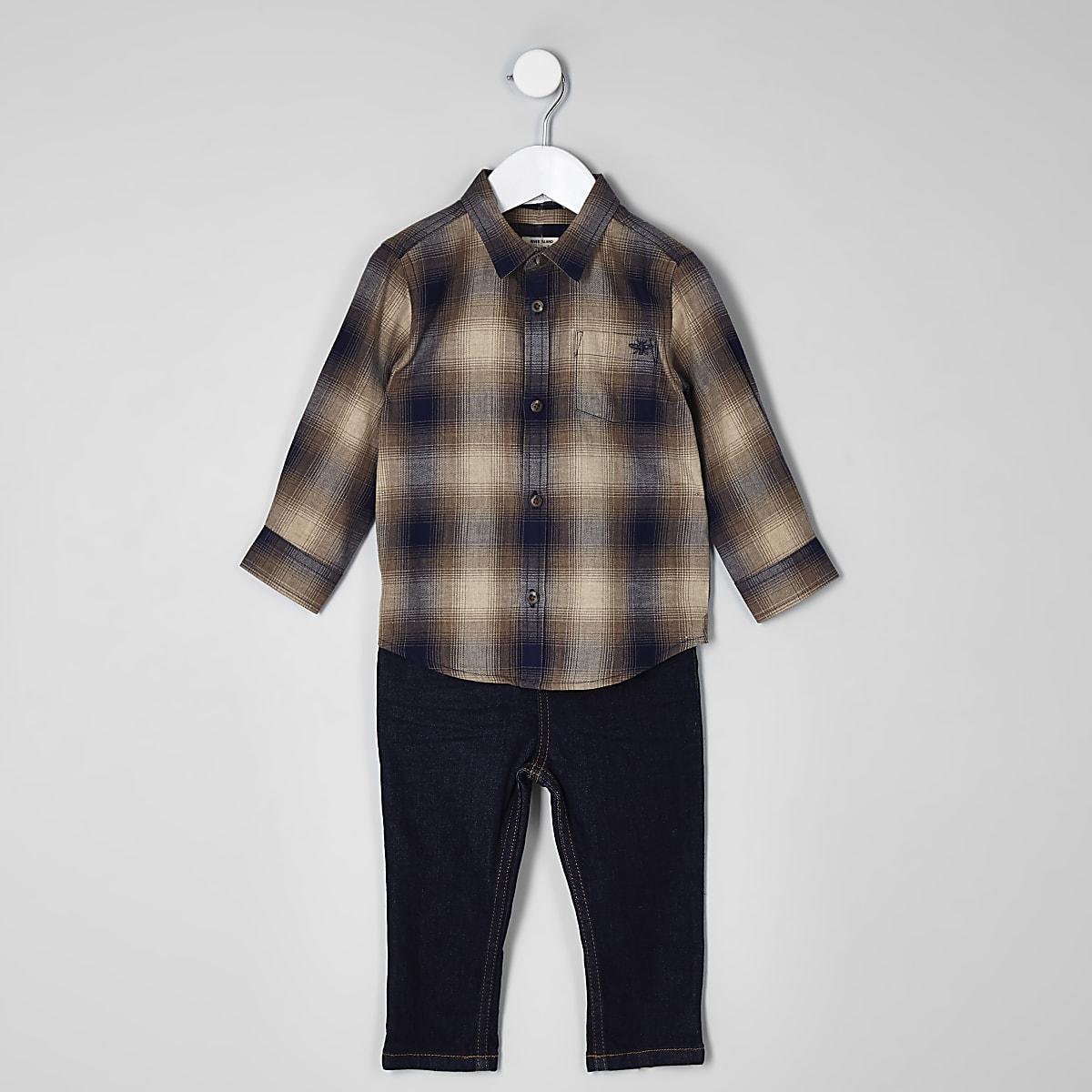 6037d10b312b2 Ensemble jean et chemise à carreaux mini garçon - Tops bébé garçon ...
