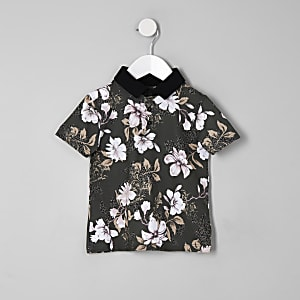 Mini boys khaki floral polo shirt