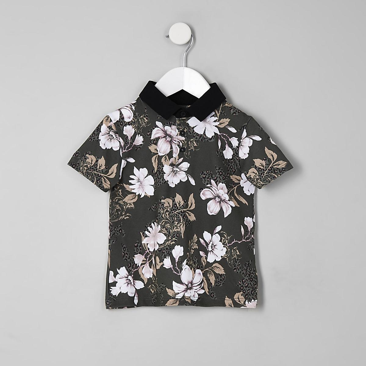 Mini - Kaki poloshirt met bloemenprint voor jongens