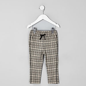Mini boys ecru check tapered pants