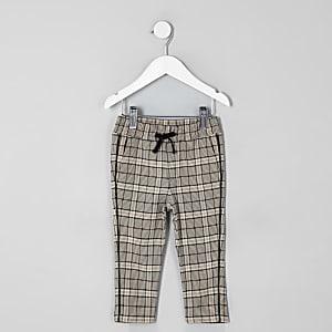 Mini - Ecru geruite smaltoelopende broek voor jongens