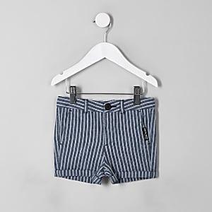 Mini - Marineblauwe gestreepte linnen short voor jongens