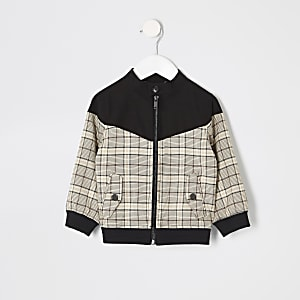 Blouson Harrington à carreaux marron mini garçon
