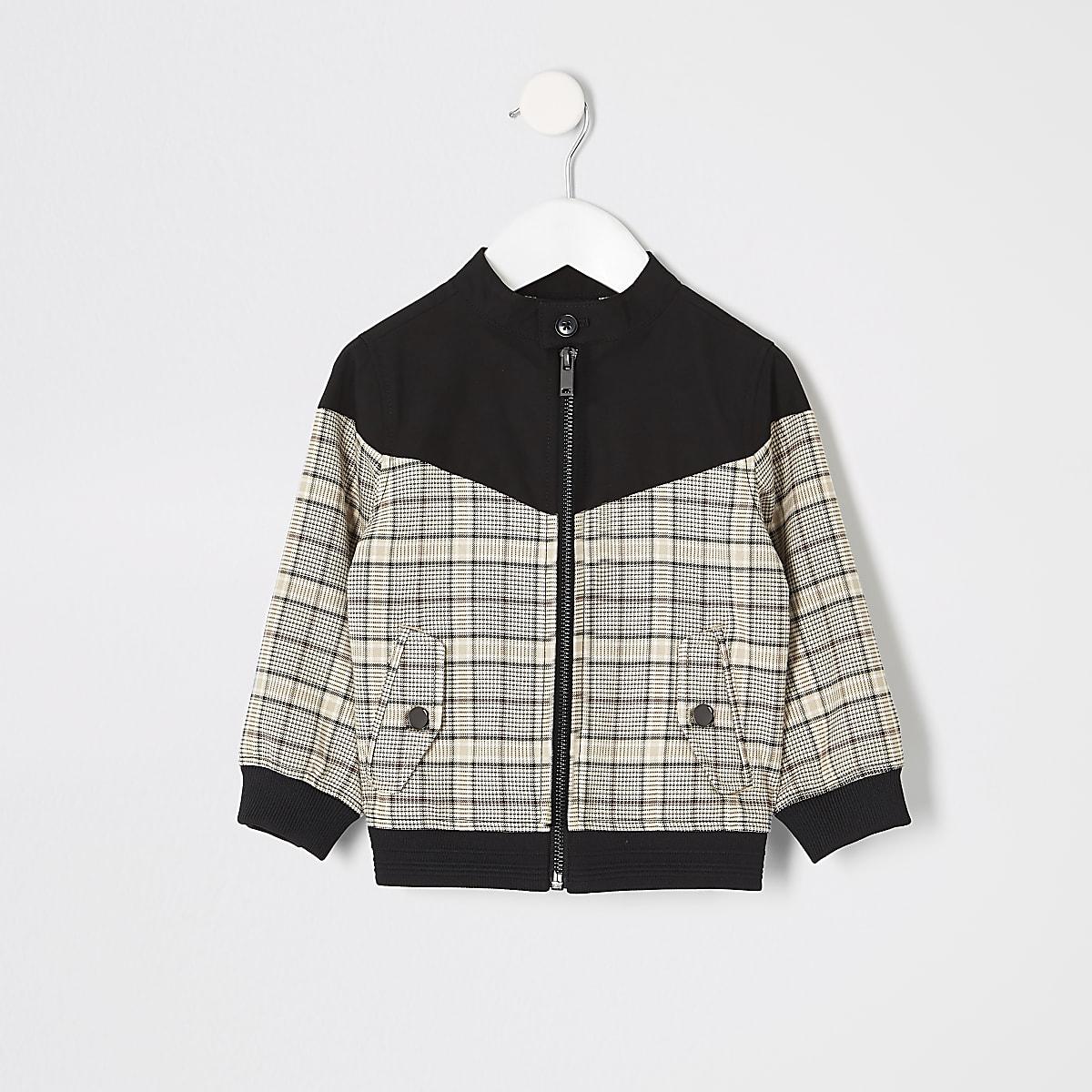Mini boys brown check Harrington jacket