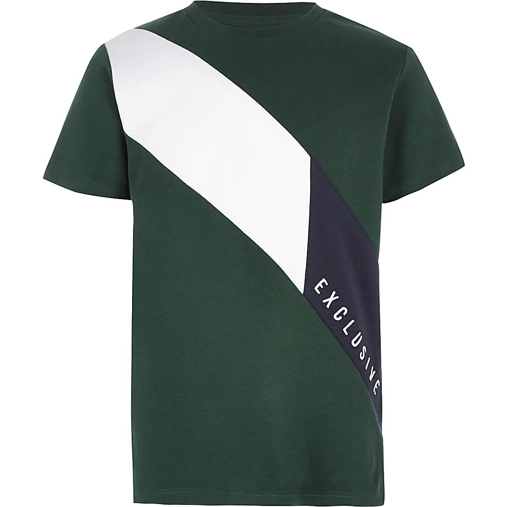 Boys green 'Exclusive' block T-shirt