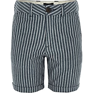 Marineblauwe gestreepte linnen short voor jongens
