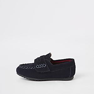 Mini - Marineblauwe loafers met klittenband voor jongens