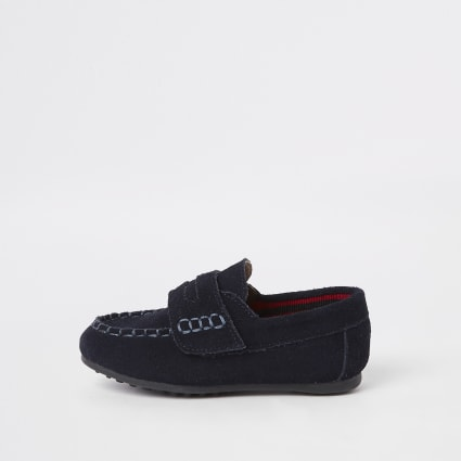 Mini boys navy velcro loafers