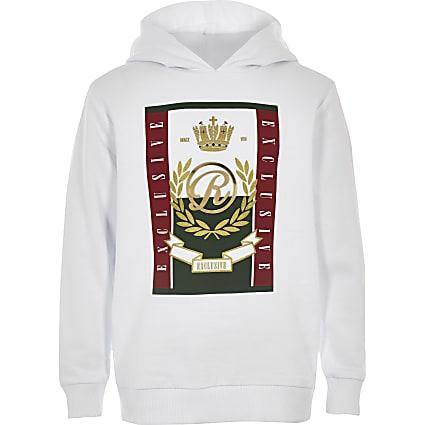 Boys white RI long sleeve hoodie