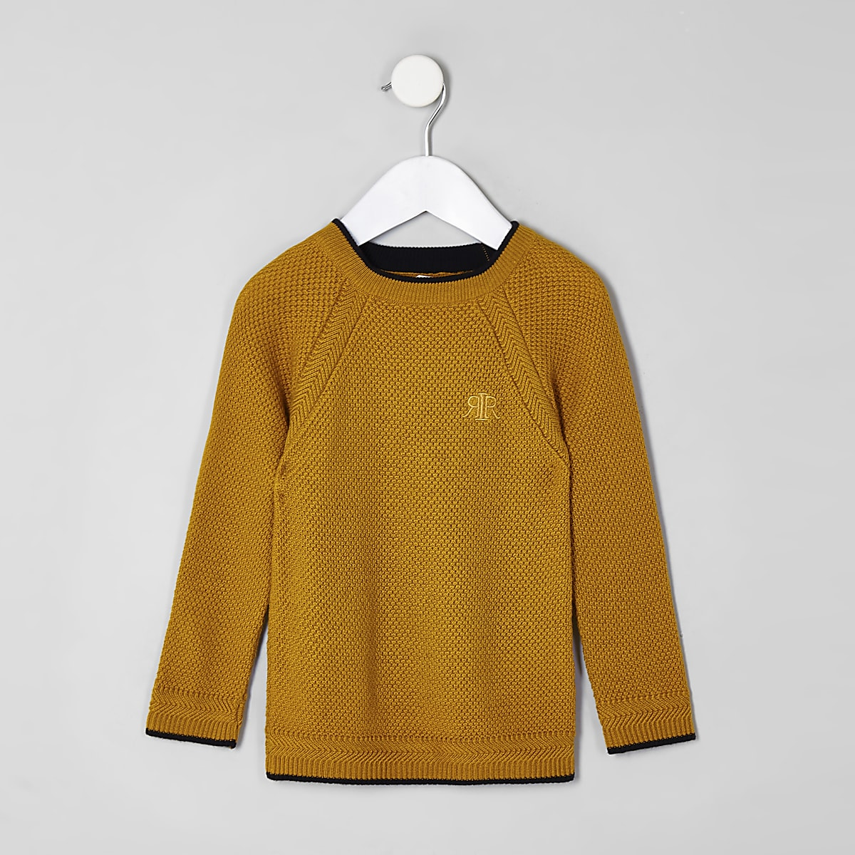 Mini boys yellow RI knit jumper