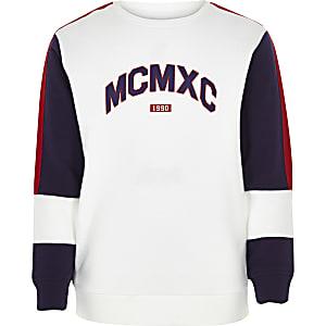 Wit geblokt 'MCMXC' sweatshirt voor jongens