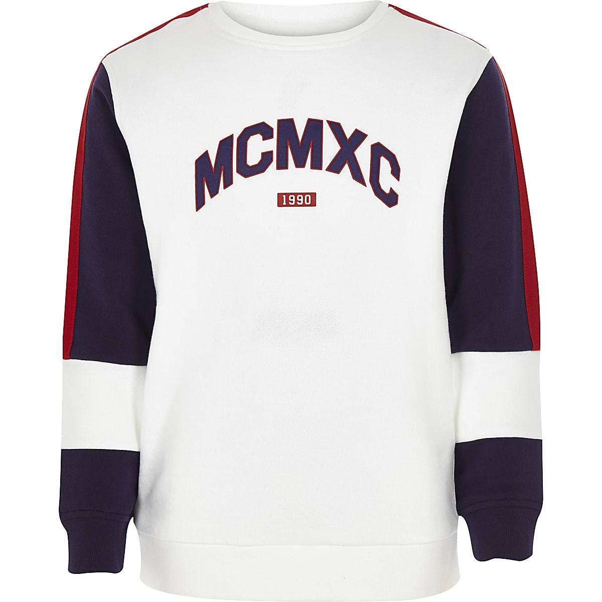 Boys white 'MCMXC' block sweatshirt