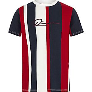 Boys navy vertical stripe T-shirt