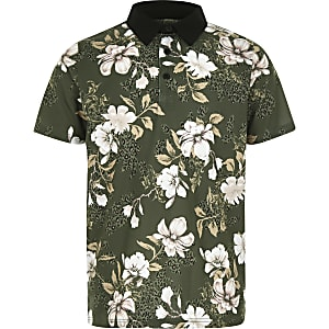 Boys khaki floral polo shirt