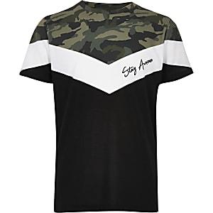 Kaki T-shirt met 'Stay awesome'- en camouflageprint voor jongens