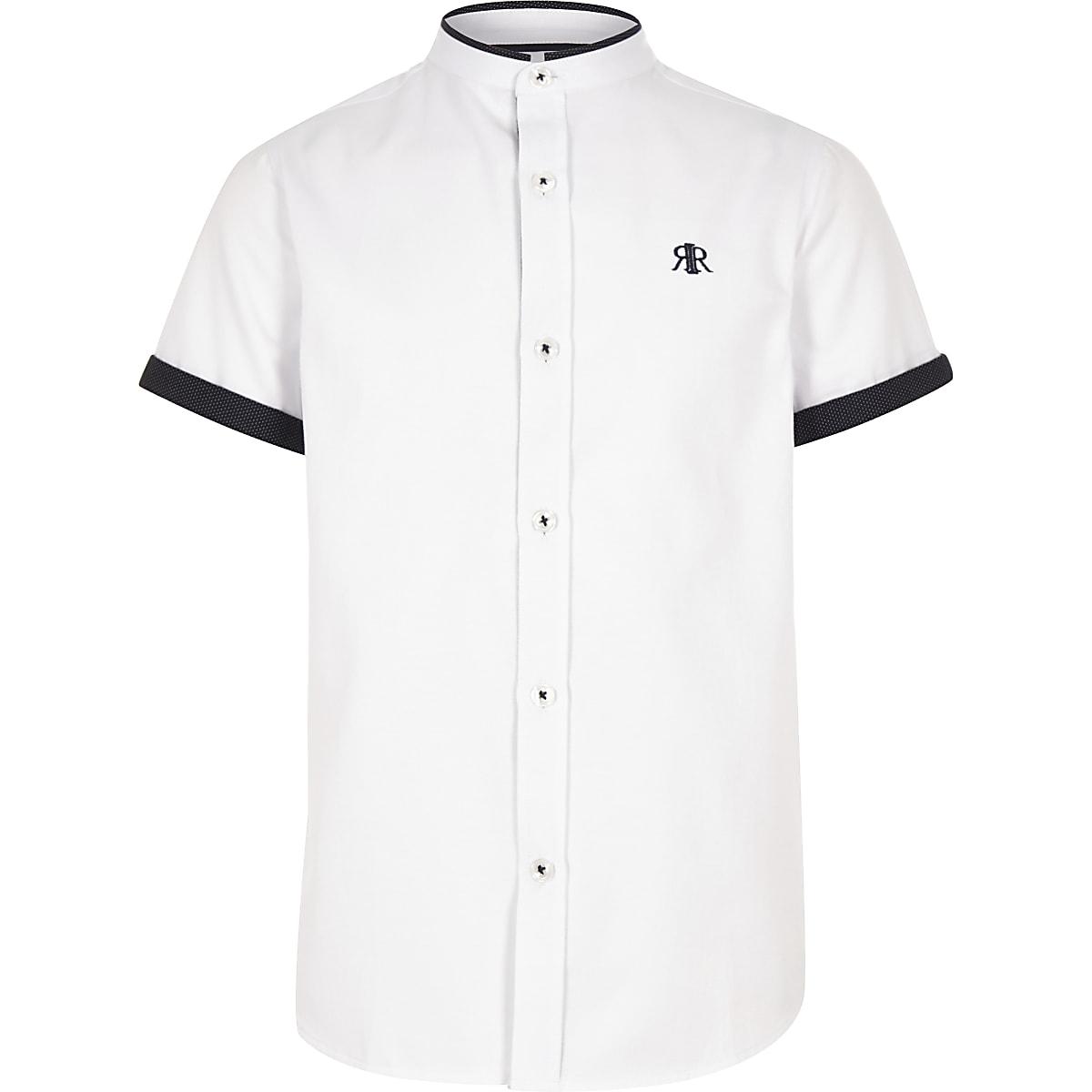 Boys white contrast trim shirt
