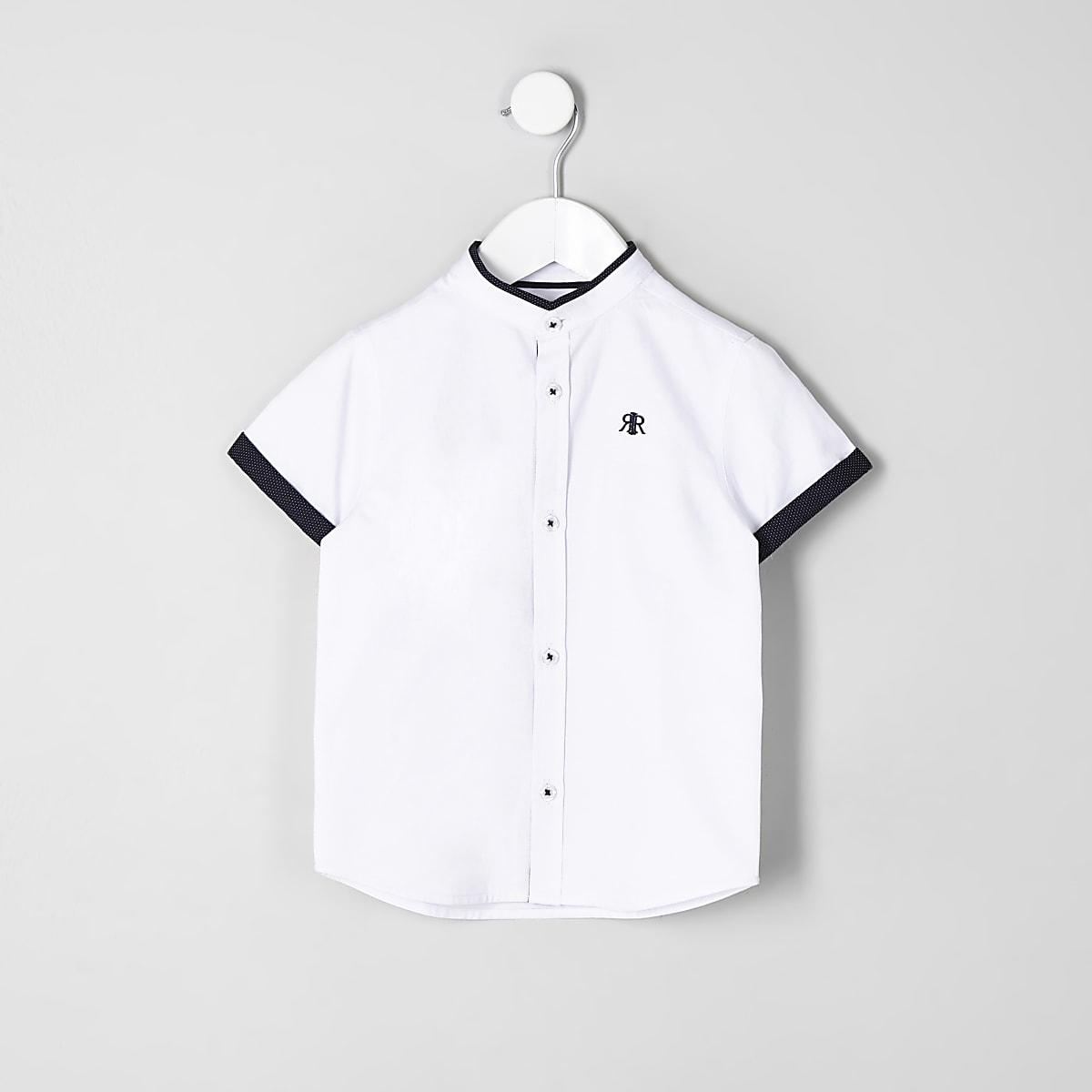 Chemise blanche à bordure contrastante mini garçon