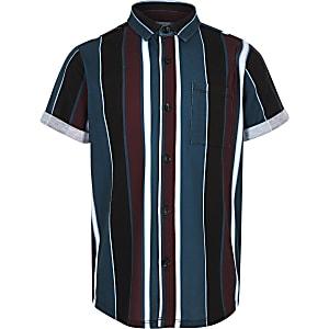 Zwart gestreept overhemd met korte mouwen voor jongens