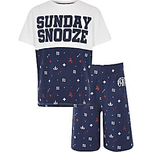 Marineblauwe pyjamaset met RI-print voor jongens
