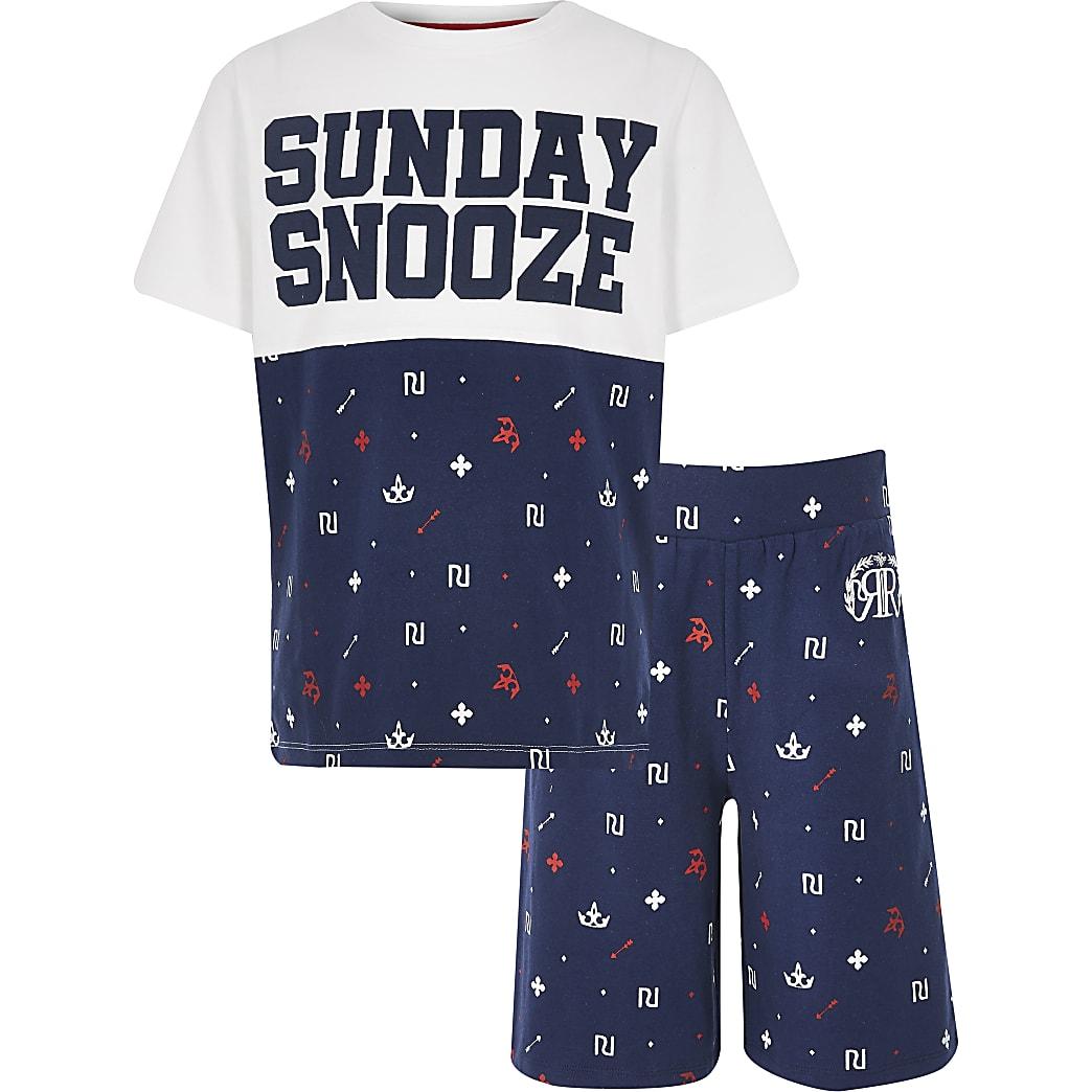 Boys navy RI print pyjama set
