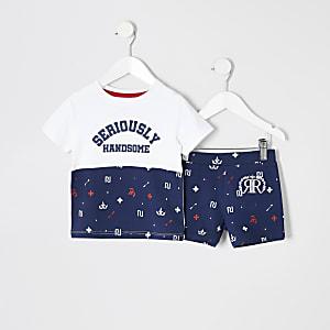 Mini - Marineblauwe pyjamaset met RI-logo voor jongens