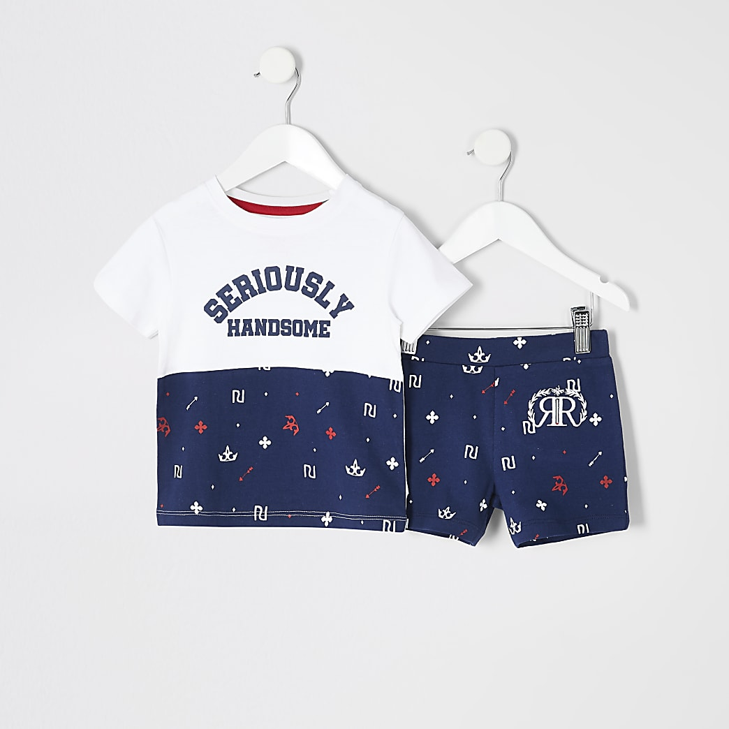 Mini boys navy RI printed pyjamas