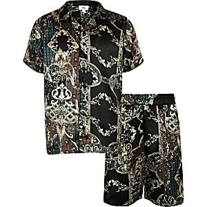 Ensemble pyjama short en satin noir pour garçon