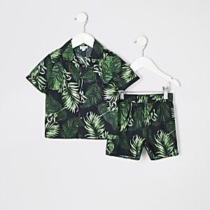 Mini - Zwarte pyjamaset met bloemenprint voor jongens