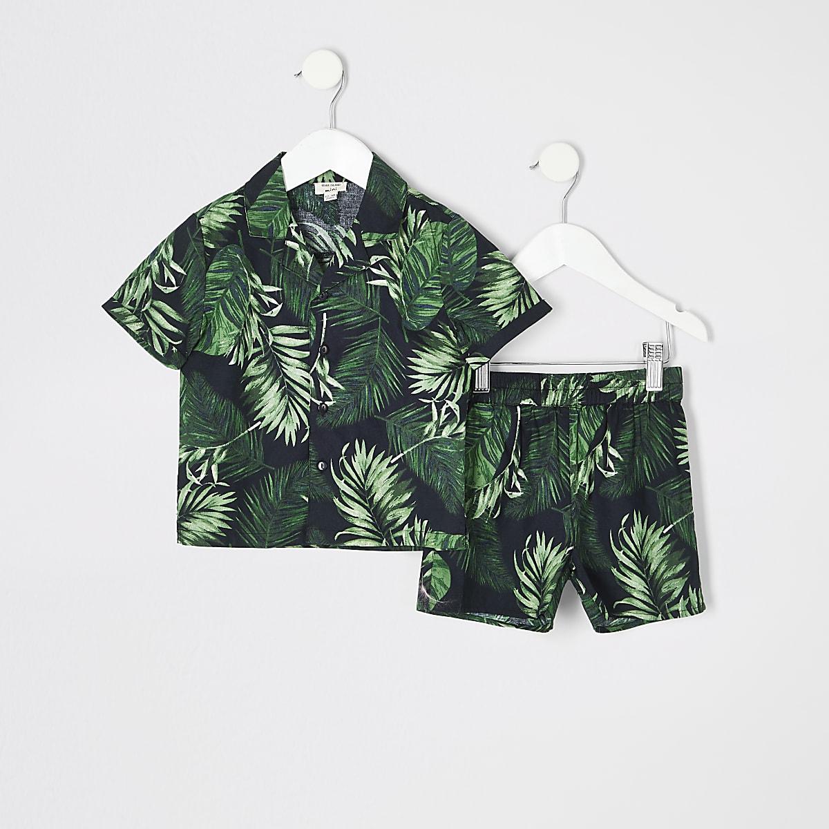 Mini boys black tropical pajama set