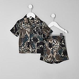Mini boys black baroque satin pajama set