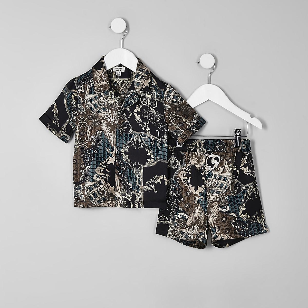 Mini boys black baroque satin pyjama set