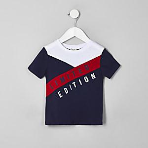 Mini - Marineblauw T-shirt met 'Limited edition'-print voor jongens