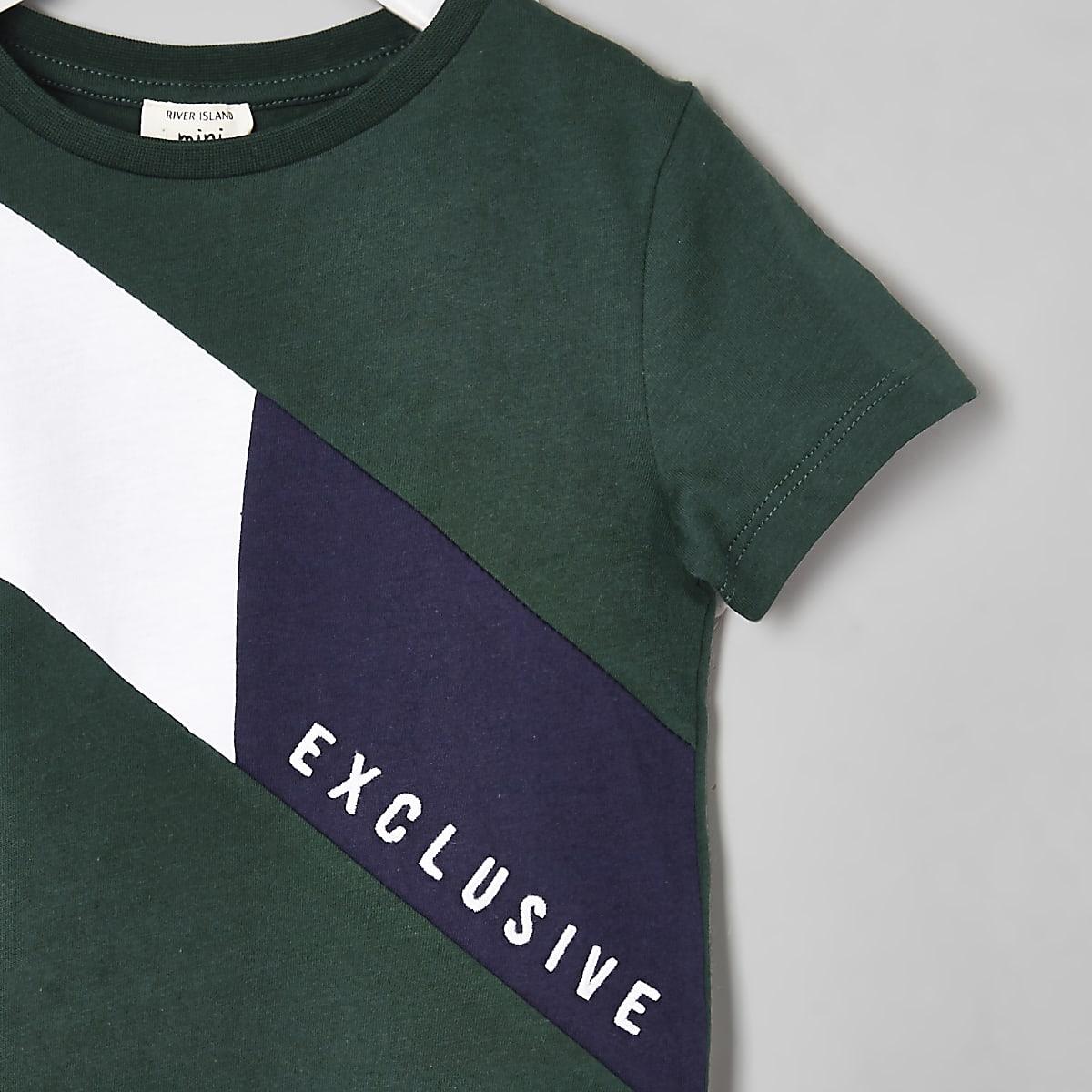 7831f0bf Mini boys green 'Exclusive' block T-shirt - Baby Boys Tops - Mini Boys -  boys