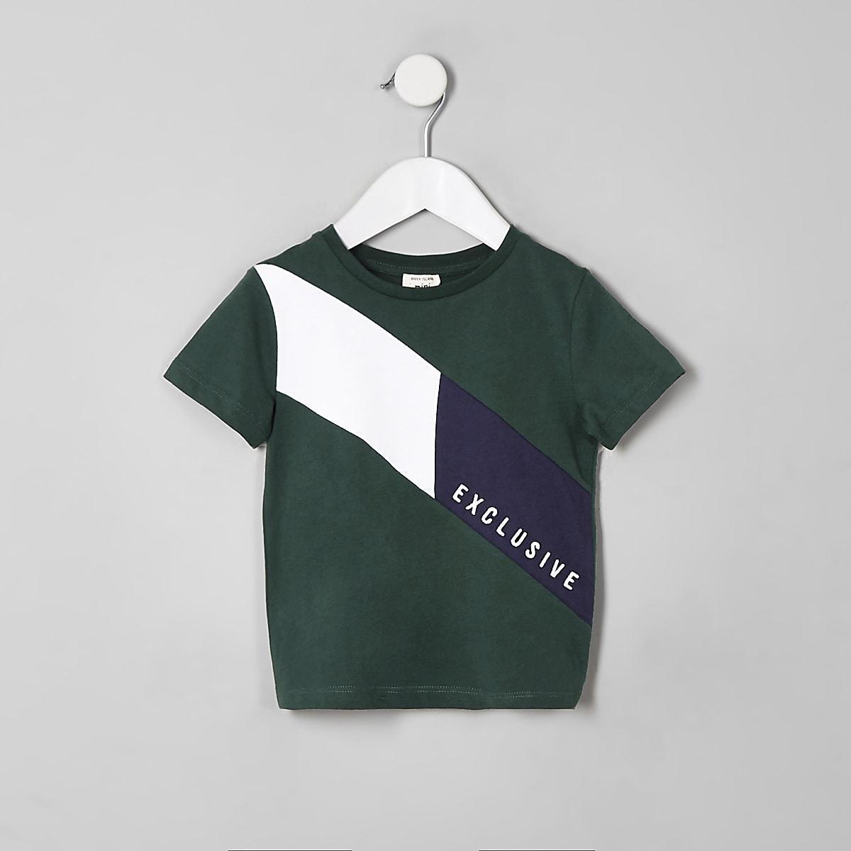 Mini boys green 'Exclusive' block T-shirt